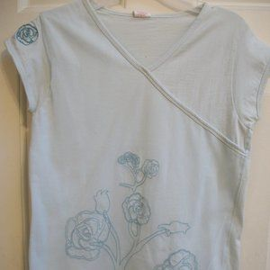 Pale Blue Top with Net Overlay Girl Size 14